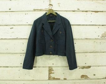 vintage 1990s navy blue linen crop jacket wood buttons M L