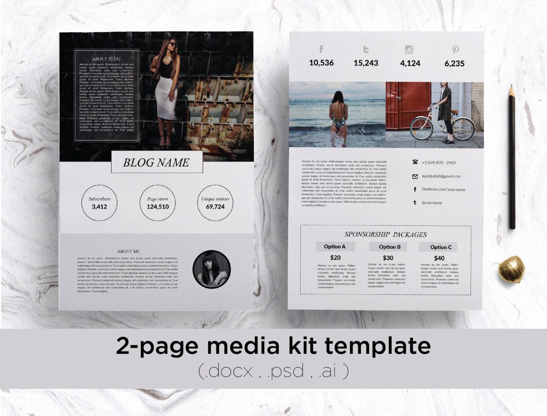 modern 2 page media kit template professional blog press kit