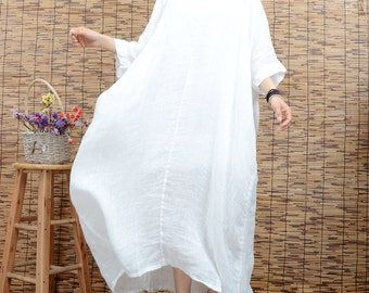 White tunic dress summer dress linen dress large size maxi dress plus size clothing short sleeve long dress beach dress women cotton dress