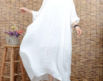 White tunic dress summer dress linen dress large size maxi dress plus size clothing short sleeve long dress beach dress women cotton dress