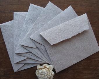 Kraft Brown Handmade Recycled Paper Card  - set of 6/ Kraft Envelopes/ Kraft Blank Cards/ Rustic cards