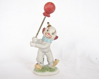 Vintage clown figurine statue with balloon circus decor red blue green white yellow made in Taiwan