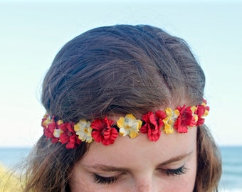 Flower Crown, Flower Headband, Floral Crown, Floral Headband, Coachella, Music Festival, Rave Accessory -Red and Yellow Flowers