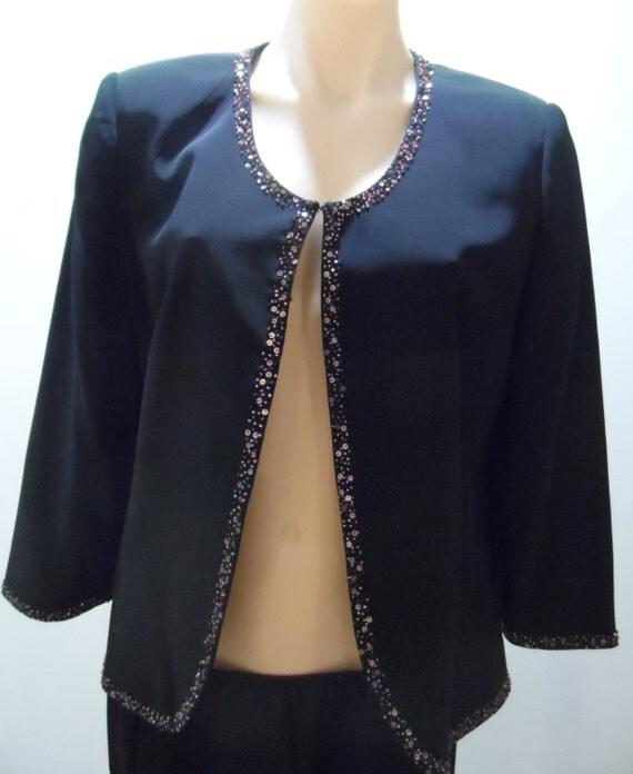 ANTHEA CRAWFORD black waist length bolero style jacket bead trim - Size 12 - vintage