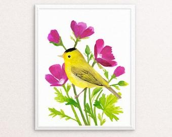 Bird Print, Yellow Wall Art, Bird Art, Contemporary Art Print, Nature Decor, Botanical Floral Art Print, Printable Bird Art, Living Room Art