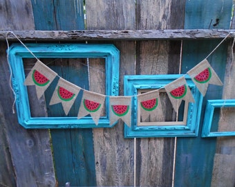 Watermelon Summer Burlap Banner Garland