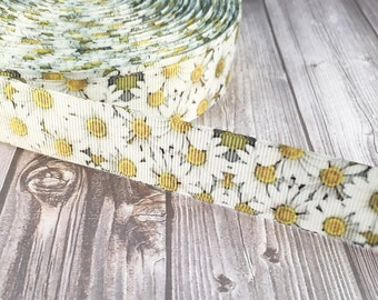 """Daisy ribbon - 1"""" flower ribbon - White and yellow flowers - Craft ribbon - Craft flower ribbon - Grosgrain ribbon - By the yard"""