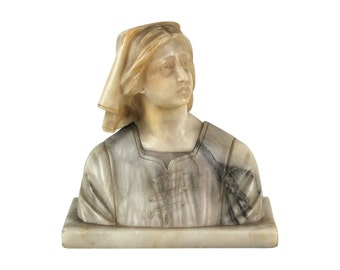 Antique Carved Italian Marble Bust Peasant Woman in Head Scarf & Tunic