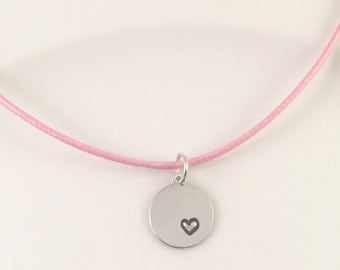 Heart necklace, hand stamped necklace, girls charm necklace, Heart charm, Heart stamped necklace, pink cord necklace