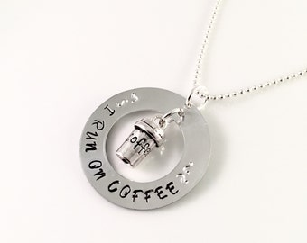 Coffee Necklace, Hand stamped metal washer coffee jewelry, I run on coffee quote, coffee jewelry, to go coffee cup charm, coffee lover gift