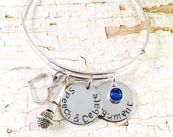 Speech and Debate Bangle Bracelet, Personalized Bracelet, debate team gift, heart microphone charm, Adjustable bangle bracelet, model UN