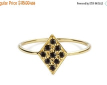 VALENTINES DAY SALE The Diamond Shaped Ring, Black Spinel Ring, 9 Black Spinel Stones, Gemstones Ring,  18K Gold Plated on Sterling Silver,