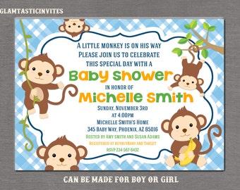 Monkey Baby Shower Invitation, Boy Baby Shower Invitation, Monkey Invitation, Monkey Shower Invitation, Fun Shower Invite, A little Monkey