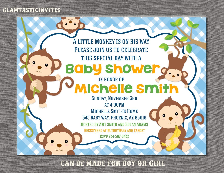 Monkey Baby Shower Invitations For Boys. Monkey Theme Baby Shower ...
