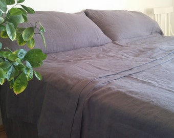 Ready to ship dark grey linen bedclothes / dark grey linen bedding set US King size