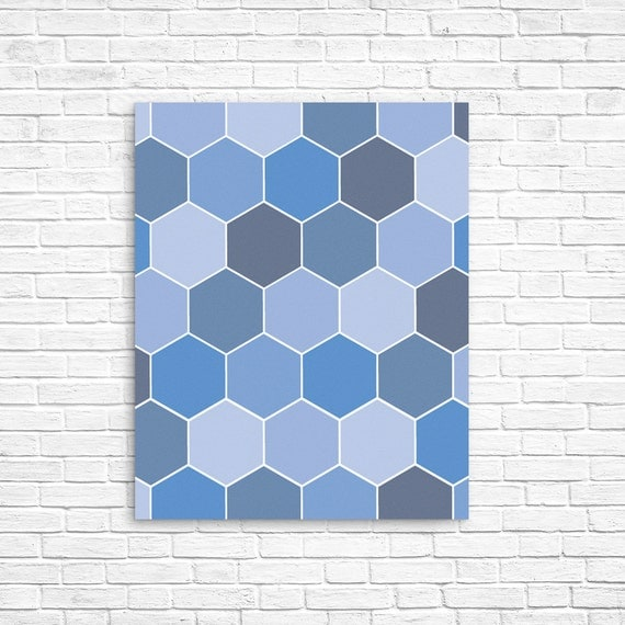 Blue Print Wall Decor : Geometric art print blue decor hexagon printable by ojudesign