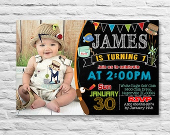 Printable Fishing Fish Birthday Party invitation or thank you card for a baby boy chalk twins (2016-12)