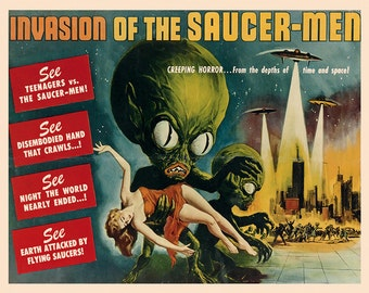 "Sci-Fi 16"" X 20"" Aliens Invasion Saucer Men  Space Travel Horror Movie Film Vintage Poster Repro FREE S/H in USA"