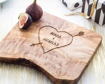 Personalized Carved Heart Cheese Board - available in five sizes
