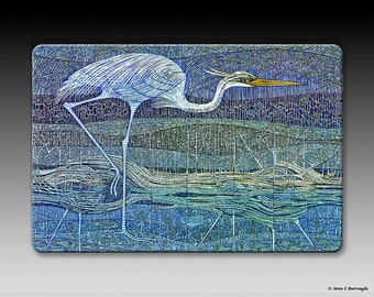 Blue Heron tempered glass cutting board.  Scratch proof and stain resistant.