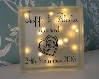 Wedding gift Glass light block. Couples gift. Personalised Wedding gift