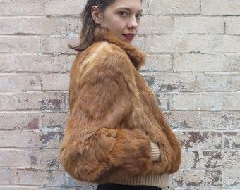Vintage 70s Style Caramel Rabbit Fur Cropped Bomber Jacket Coat - Size S