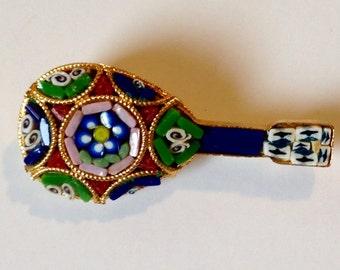 Micro Mosaic Mandolin Brooch