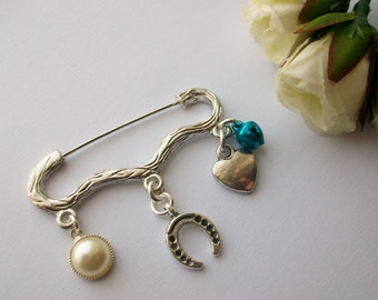 Something Blue - Bridal pin. Good luck gift for bride on her wedding day