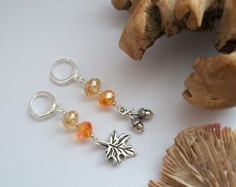 Autumn - Little acorn and leaf mismatched earrings