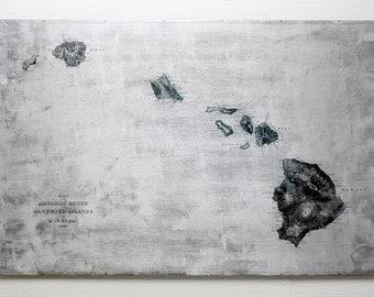 "1841 Vintage Hawaiian Islands Map on Distressed Aluminum 20x30"" Sandwich Islands"