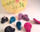 Sugar Skull Earrings, Skull Earrings, Dia de Los Muertos Earrings, Rockabilly jewelry, Pinup Earrings, Day of the Dead Earrings