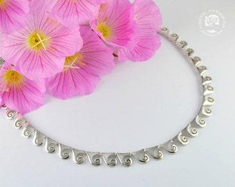 spiral silver necklace, spiral necklace, greek necklace, spiral jewelry, greek jewelry, goddess necklace, goddess jewelry