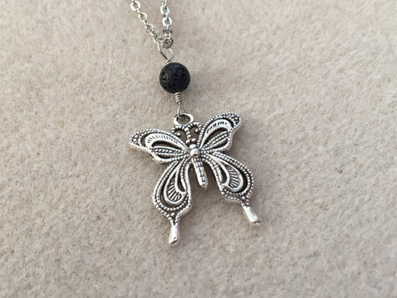 Lava Diffuser Necklace Silver Filigree Swallowtail Butterfly with Black Lava Stone Bead for Essential Oil Aromatherapy. Chain Included.