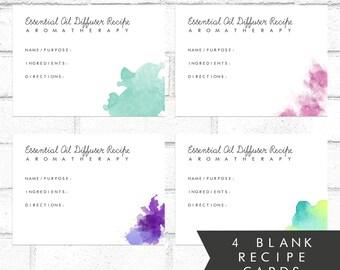 4 BLANK Aromatherapy Diffuser Recipe Cards | Printable