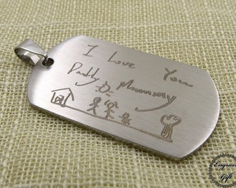 Custom Made Actual Handwriting, Real Hand Signature , Drawing Memorial Replica, couple Gift, Stainless Steel Tag Charm KeyChain