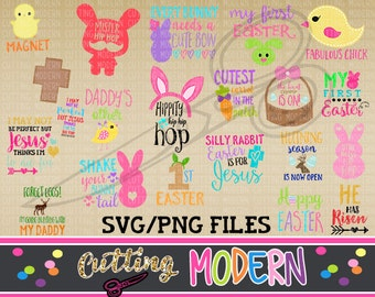 Easter Theme Bundle - Commerical Use Ok- 20 Modern Svg Files - Huge Savings - Silhouette Cameo - Cricut- Vinyl Projects - Diy