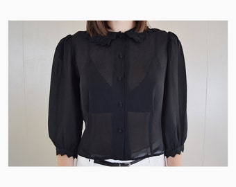 ON SALE! Small Vintage Chiffon Top, Button Up - Sheer, Black Shirt