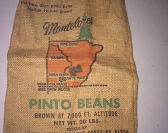Montelores Pinto Beans Burlap Sack, Bag, Midland Bean Co., Dove Creek CO