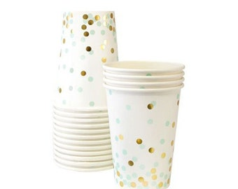 Mint and gold paper cups. Set of 12. Paper cups with mint green and gold foil confetti. White paper cup with light green and gold polka dots