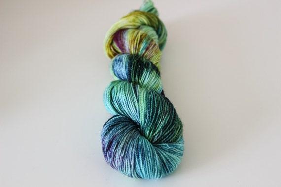 Eyes Like Wildflowers - Ballpoint Sock fingering weight 80/20 superwash merino nylon hand dyed speckled variegated yarn - 400 yards