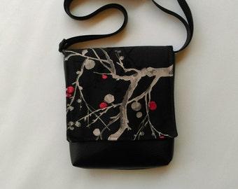 "Japanese ""Kyoto""  feature messenger vegan faux leather vinyl bag handbag"