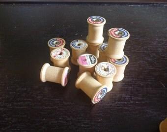 12 Vintage wooden thread spools