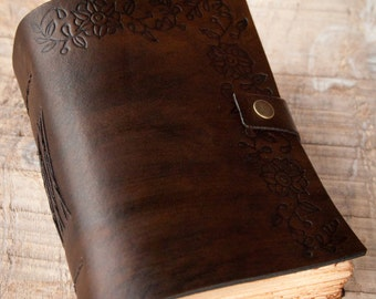 Dark Brown Leather Journal, Handbound Journal, Leather Diary, Notebook