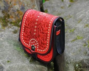 Genuine leather purse Crossbody bag Shoulder bag women Red tooled bag Leather messenger bag Tooled leather bag Vintage Ethnic Gift for her
