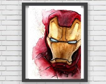 IRON man comic Watercolor art Print Decor paint watercolor print superhero tony Stark