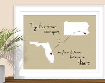 State Art, Together Forever Never Apart, Maybe in Distance but Never in Heart - Digital State Art Print. All States and Countries available