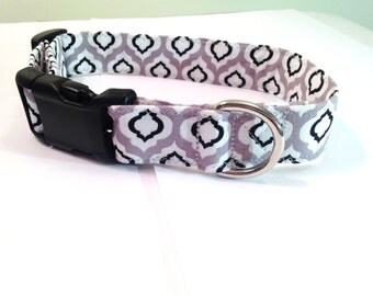 Dog collar - Quatrefoil dog collar, Geometric dog collar- Medium Dog collar, grey dog collar, modern dog collar