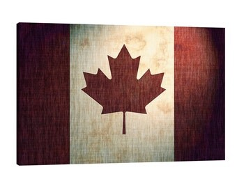 Canadian Flag Canvas Wall Art Grit Gritty Grunge Canada Worn out