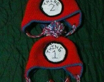 Thing 1 and Thing 2 hats. Child size. Fits up to 18 inches
