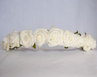 Floral Crown Flower Hairband Headband - Ivory Roses Rose Bridal Wedding Hair Accessories Festival Bridesmaid Flowergirl